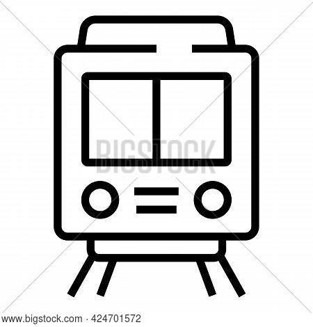 Metro Train Icon. Outline Metro Train Vector Icon For Web Design Isolated On White Background