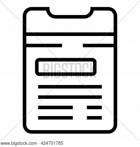 Metro Ticket Paper Icon. Outline Metro Ticket Paper Vector Icon For Web Design Isolated On White Bac