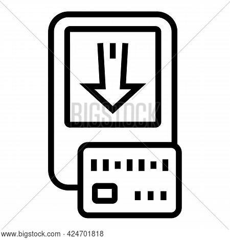 Metro Ticket Button Icon. Outline Metro Ticket Button Vector Icon For Web Design Isolated On White B