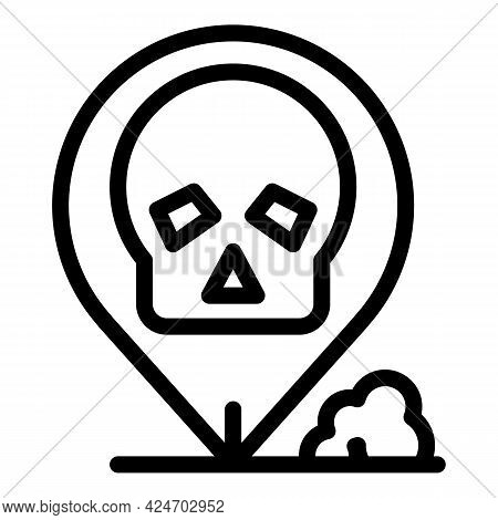 Expedition Death Location Icon. Outline Expedition Death Location Vector Icon For Web Design Isolate