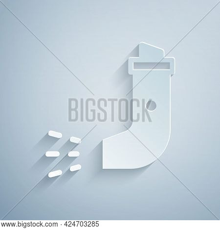 Paper Cut Inhaler Icon Isolated On Grey Background. Breather For Cough Relief, Inhalation, Allergic