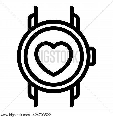 Runner App Heart Rate Icon. Outline Runner App Heart Rate Vector Icon For Web Design Isolated On Whi