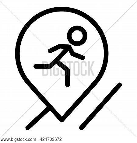 Runner App Location Icon. Outline Runner App Location Vector Icon For Web Design Isolated On White B