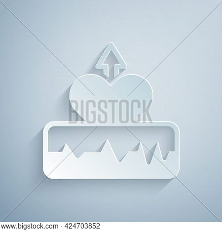 Paper Cut Heartbeat Increase Icon Isolated On Grey Background. Increased Heart Rate. Paper Art Style