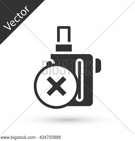 Grey Electronic Cigarette Icon Isolated On White Background. Vape Smoking Tool. Vaporizer Device. Ve
