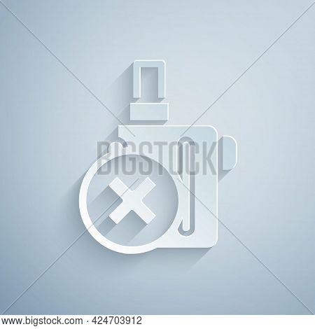 Paper Cut Electronic Cigarette Icon Isolated On Grey Background. Vape Smoking Tool. Vaporizer Device