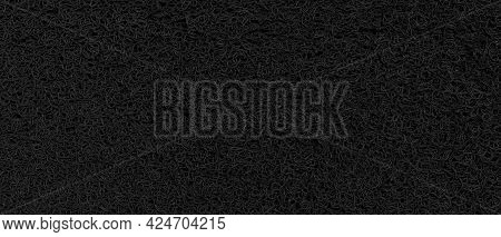 Panorama Of Black Plastic Doormat Texture And Background Seamless