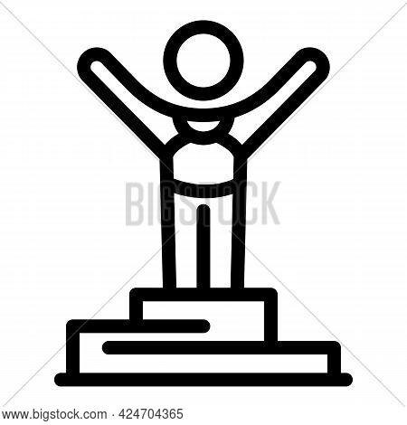 Runner Winner Icon. Outline Runner Winner Vector Icon For Web Design Isolated On White Background