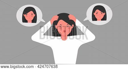 Bipolar Personality Disorder In A Young Girl. The Woman Is Holding Her Head With Her Hands And Screa
