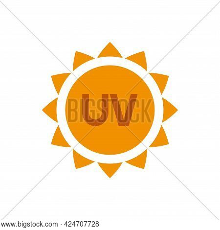 The Icon Of Ultraviolet Radiation. Solar Radiation. Simple Vector Illustration On A White Background