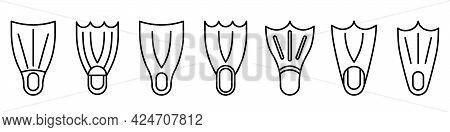 Flippers Icon. Set Of Linear Flippers Icons. Vector Illustration. Flippers Vector Icons. Black Linea