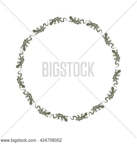 Decorative Framing From Lizards Going In A Circle. Lizards Path On Circle. Frame On Topic Wildlife.