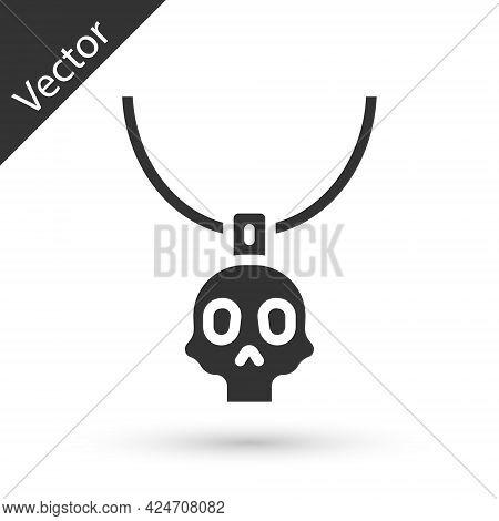 Grey Necklace Amulet Icon Isolated On White Background. Vector