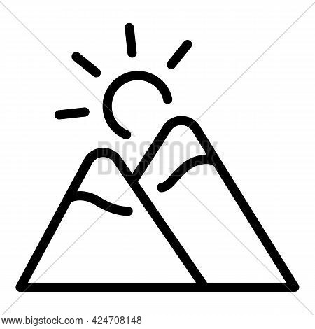 Campsite Mountains Icon. Outline Campsite Mountains Vector Icon For Web Design Isolated On White Bac