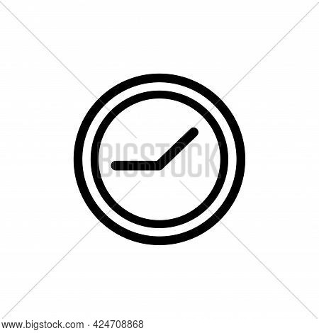Clock Time Line Vector Icon. Hour Watch Timer Flat Illustration Isolated On White Background. Web Al