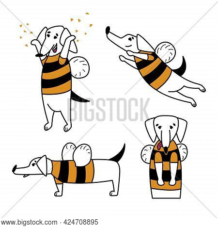 A Set Of Funny Cartoon Dogs. Cute Dachshund In A Bee Costume With Wings. Dog Mascot For Business, Co