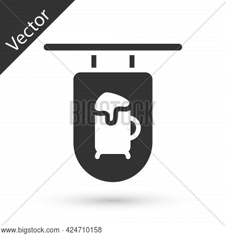 Grey Street Signboard With Inscription Bar Icon Isolated On White Background. Suitable For Advertise