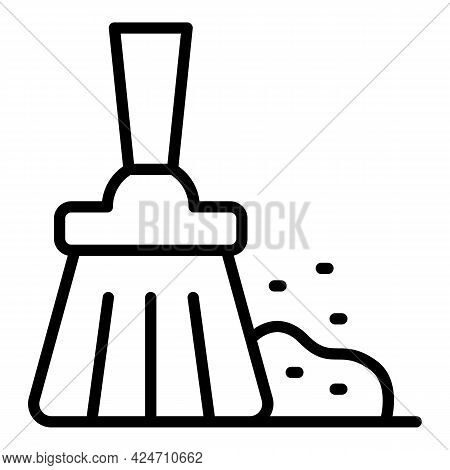 Cleaning Broom Icon. Outline Cleaning Broom Vector Icon For Web Design Isolated On White Background