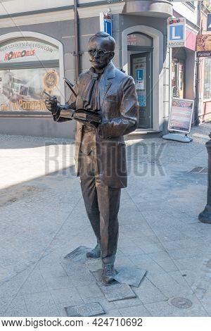 Koscierzyna, Poland - May 31, 2021: Monument Of Doctor Aleksander Majkowski (kashubian: Aleksander M