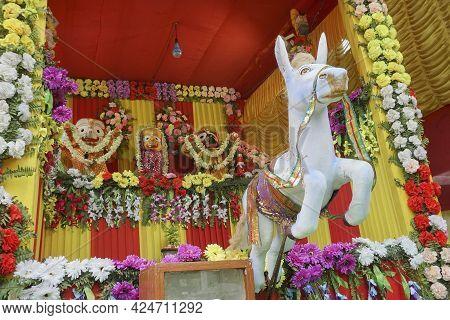 Horse Idol Dragging Chariot Of God Jagannath, Balaram And Suvodra Is Being Worshipped. Ratha Jatra F