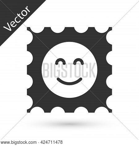 Grey Lsd Acid Mark Icon Isolated On White Background. Acid Narcotic. Postmark. Postage Stamp. Health
