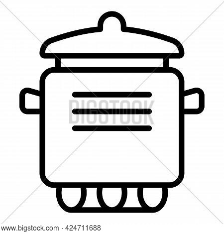 Cooking Saucepan Icon. Outline Cooking Saucepan Vector Icon For Web Design Isolated On White Backgro