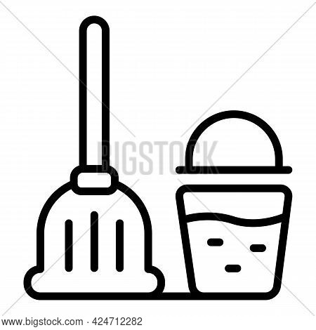 Cleaning Mop Bucket Icon. Outline Cleaning Mop Bucket Vector Icon For Web Design Isolated On White B