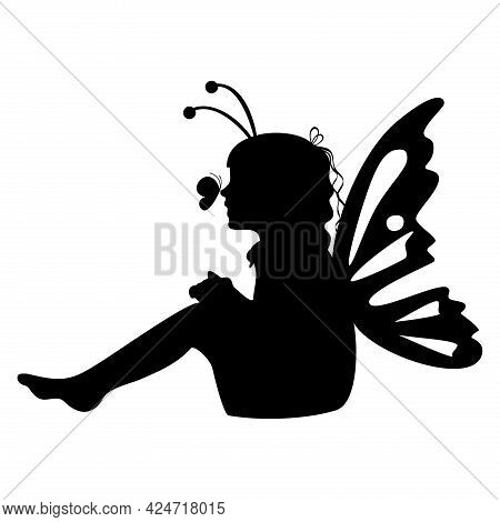 Little Sitting Girl Silhouette With Buttefly Wings. Vector Illustration.