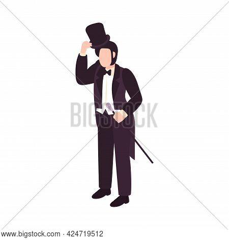 Victorian Era Male Fashion With Elegant Man Holding Cane Isometric Vector Illustration