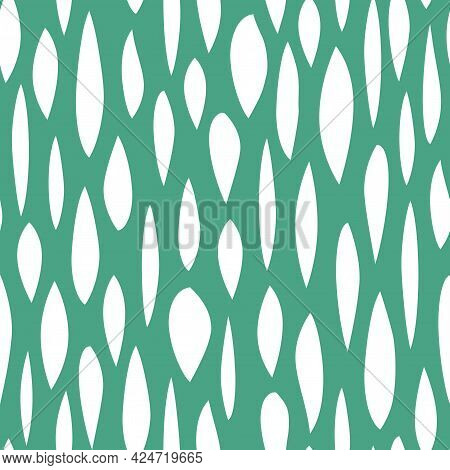 Seamless Abstract Pattern With White Shabby Spots On Turquoise Background. Geometric Background. Vec