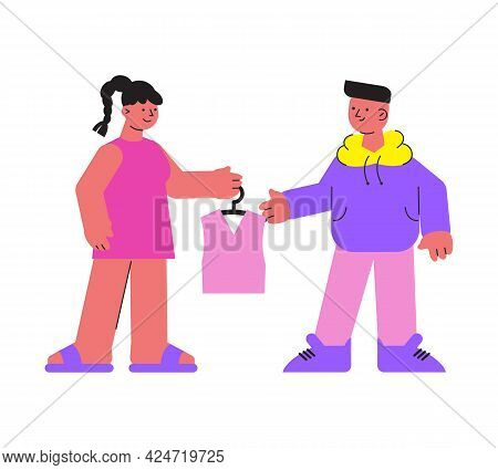 Laundry Flat Icon With Man And Woman Holding Hanger With Clean Tshirt Vector Illustration