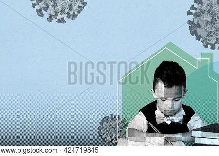 Little boy homeschooling during coronavirus pandemic