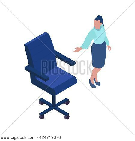 Job Vacancy Icon With Female Character Of Hr Specialist And Chair Isolated Isometric Vector Illustra