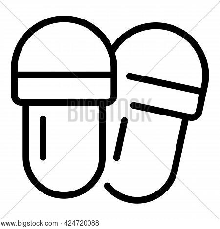 Home Slippers Wear Icon. Outline Home Slippers Wear Vector Icon For Web Design Isolated On White Bac