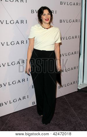LOS ANGELES - FEB 19:  Drew Barrymore arrives at the BVLGARI Celebrates Elizabeth Taylor's Jewelry Collection at the BVLGARI on February 19, 2013 in Beverly Hills, CA