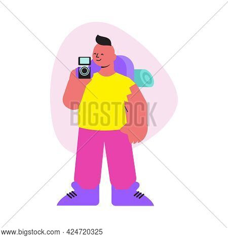Flat Hiking Man With Backpack And Camera Vector Illustration