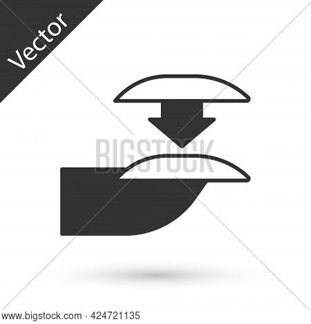 Grey Set Of False Nails For Manicure Icon Isolated On White Background. Varnish Color Palette For Na
