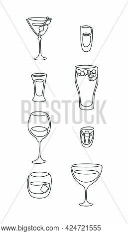 One Line Drawing Martini Rum Red Wine Tequila Beer Whiskey Vermouth Vodka Glass On White Background.