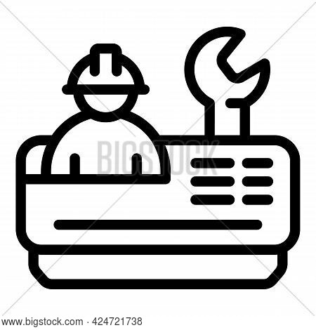 Repair Air Conditioner Icon. Outline Repair Air Conditioner Vector Icon For Web Design Isolated On W