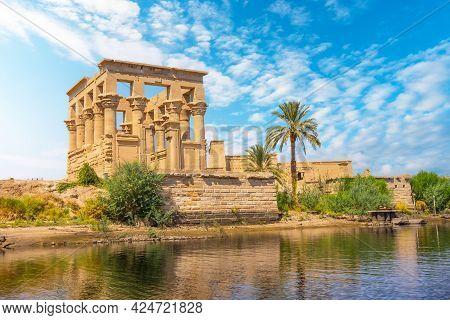 The Beautiful Temple Of Philae And The Greco-roman Buildings Seen From The Nile River, A Temple Dedi