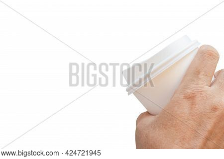 Close Up, Man Hand Holding White Paper Coffee Cup Isolate On White Background, Mockup Paper Coffee C