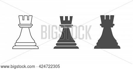Chess Piece Is A Rook. An Empty, Filled, And Composite Polygon. Vector Icon Isolated On A White Back