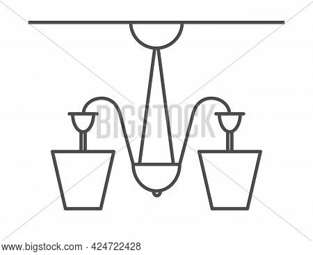 Vector Icon Of A Chandelier, Ceiling Lamp. Stock Illustration, Isolated On A White Background. Simpl