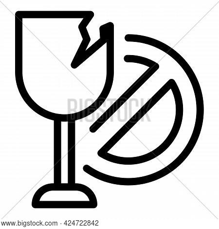 Broken Glass Icon. Outline Broken Glass Vector Icon For Web Design Isolated On White Background