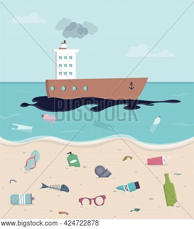 Environmental Pollution Vector Background. Oil Spill On Water. Ship Is Polluting The Environment. Pl