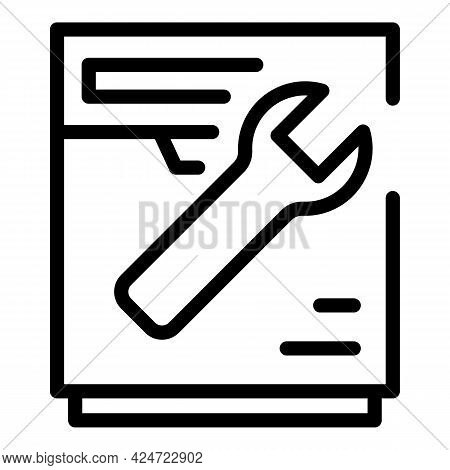 Repair Dishwasher Kitchen Icon. Outline Repair Dishwasher Kitchen Vector Icon For Web Design Isolate