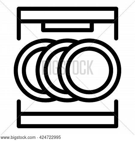 Repair Dishwasher Heating Icon. Outline Repair Dishwasher Heating Vector Icon For Web Design Isolate