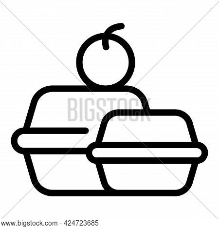 Take Away School Food Icon. Outline Take Away School Food Vector Icon For Web Design Isolated On Whi