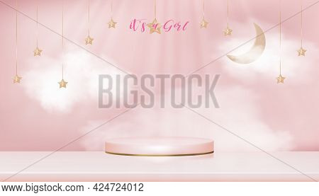 Baby Shower Greeting Card For Little Girl On Pink Sky With Fluffy Background,vector Cute Backdrop Fo