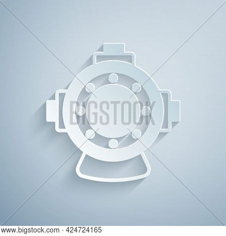 Paper Cut Aqualung Icon Isolated On Grey Background. Diving Helmet. Diving Underwater Equipment. Pap